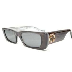 Gucci Women's Grey White and Silver Sunglasses!